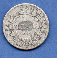 Vatican   - 1 Lira  1866   - Km # 1377.3 -  état TB  - Trace De Colle - Vatican