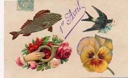 I36 - Fantaisie - 1er Avril - Poisson, Hirondelle, Fleurs Et Pensées - April Fool's Day