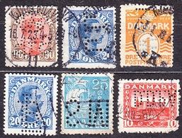 DENMARK, LOT OF 6 USED STAMPS WITH PERFINS. Condition, See The Scans. - Denmark