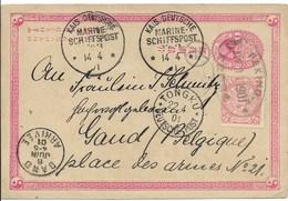 Briefkaart (PWS) Van 22.4.01 Van Tongku Deutsche Post Met Marineschiffspost Naar Gent - Chine