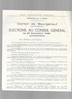 Parti Communiste Français Canton De Bourganeuf Creuse 23/ Elections Au Conseil Général Du 23 Sept. 1945/ - Posters