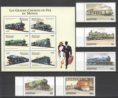 E180 LESOTHO GABONAISE TRAINS LES GRANDS CHEMINS-DE-FER DU MONDE 1KB+1SET MNH - Trains