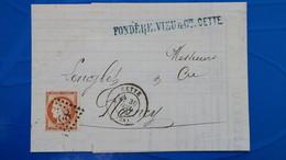 Ceres N° 38 Seul Sur Lettre De Sete ( Cette ) Hérault Pour Nancy 1875 - 1849-1876: Klassik