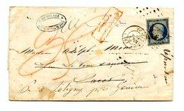 France N°14 Sur Lettre Pour Paris Réexpédiée Taxée + Griffe Affranchissement Insuffisant - (B2106) - 1849-1876: Klassik