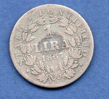 Vatican   - 1 Lira  1867 R   - Km # 1378 -  état TB  - Trace De Colle - Vatican