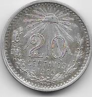 Mexique - 20 Centavos - 1905 - Argent - Mexique