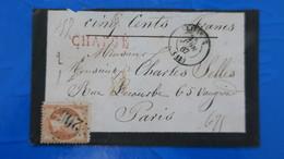 """Lettre Chargé De Lisieux  """" Cinq Cents Francs """" Pour Paris , Napoleon N° 23 Obl GC 2056 - 1849-1876: Klassik"""