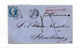 France N°14 Sur Lettre De Wissembourg (PC 3693), Taxée + Griffe Affranchissement Insuffisant - (B2107) - 1849-1876: Klassik