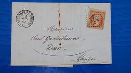Lettre Variété Piquage A Cheval Napoleon N° 23 ( Sans Faciale )de Bagneres De Bigorre Pour Dax Landes 1867 - Postmark Collection (Covers)