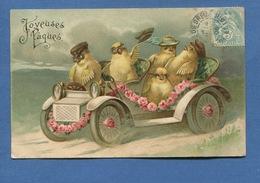 BONNE FETE PAQUES  Jolie CPA Gaufrée Relief Poussin Voiture Automobile  Roses Anthropomorphisme - Easter