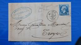 Lettre Variété Piquage A Cheval Napoleon N° 22 ( Sans Empire Franc. )de Cambrai Pour Troyes - 1849-1876: Classic Period