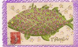 I36 - Fantaisie - 1er Avril - Poisson Et Fleurs - Enveloppe Et Texte - April Fool's Day