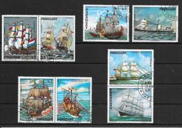 PINTURAS DE BARCOS BARCHES NAVES NAVIOS BOOTE SCHIFFE SHIP SHIPS NAVIRES PARAGUAY AÑO 1976 SERIE COMPLETA YVERT TELLIER - Paraguay