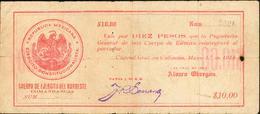 10 PESOS 1914 CORPS D'ARMEE DU NORD EST - Messico