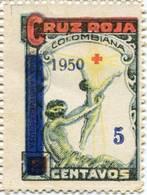 Lote CR10, Colombia, 1950, Sello, Stamp, Cruz Roja, Red Cross, Resello, Re-print - Colombia