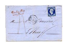 France N°14 Sur Lettre Taxée, Griffe Timbre-Poste Insuffisant (rouge) - (B2110) - 1849-1876: Klassik