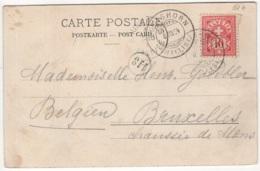 Carte Postale Envoyée De Eggishorn Vers Bruxelles En Belgique - 1882-1906 Armoiries, Helvetia Debout & UPU