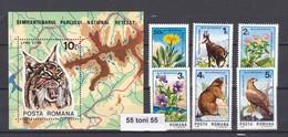 1985 National Park / ANIMALS BIRDS FLOWERS – 6v.+S/S-MNH ROMANIA - 1948-.... Républiques