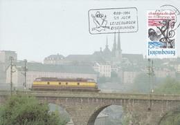 Luxembourg Luxemburg Max Card 1984 Mi 1094 125 Jahre Luxemburger Eisenbahn - Trains