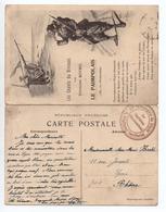 """CARTE LETTRE MILITAIRE """"LES CHANTS DU BIVOAC PAR THEODORE BOTREL"""" Avec CACHET """"21° COMPAGNIE DE DEPOT / 6° REGIMENT TER"""" - Marcophilie (Lettres)"""