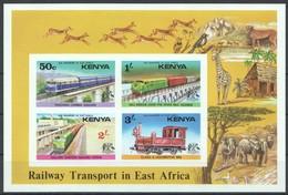 E435 !!! IMPERFORATE KENYA TRAINS RAILWAY TRANSPORT MICHEL 30 EURO 1KB MNH - Trains
