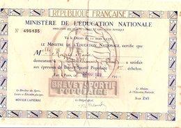 1939 BREVET SPORTIF POPULAIRE 1 ER ECHELON - Diplômes & Bulletins Scolaires