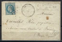 Département De La Vendée Gros Chiffre 4909, Belleville Sur Vie, Cachet Perlé - 1849-1876: Klassik
