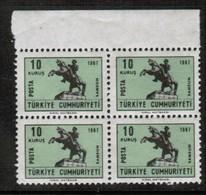 TURKEY   Scott # 1729 B** VF MINT NH BLOCK Of 4 (Stamp Scan # 442) - 1921-... République