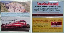 Rare Lot 2 Grandes Pochettes Allumettes Anciennes, Boites, LA VIE DU RAIL, TGV, Express Trains Train - Boites D'allumettes
