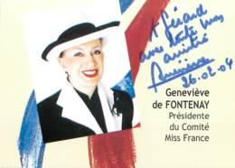 Geneviève De FONTENAY Présidente Du Comité Miss FRANCE - Véritable Autographe - Autographs