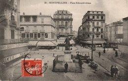 Carte Postale Ancienne - Circulé - Dép. 34 - MONTPELLIER - Place EDOUARD ADAM - Cassure Angle Haut Droit - Montpellier