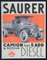 Brochure Commerciale 1929 CAMION SAURER 5 AAD à Moteur Diesel - Camions