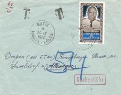 Haute Volta Burkina Faso 1972 Batie President Sangoulé Lamizana Underfranked Taxed Nachgebühr Cover - Burkina Faso (1984-...)