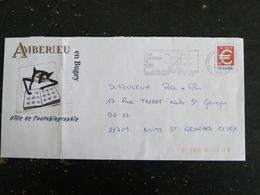 AMBERIEU EN BUGEY - AIN - FLAMME ILLUSTREE SUR PAP EURO - VILLE AUTOBIOGRAPHIE - CHAT CAT - Marcofilia (sobres)