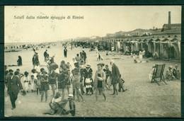 CARTOLINA - RIMINI - CV46 Saluti Dalla Ridente Spiaggia, FP, Bellissima Animazione, Viaggiata 1921, Perfetta - Rimini