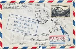 LP-brief 1e Liaison Aérienne Paris-Dakar Par Avion à Réaction, Met Nr 928 (Viaduc De Gabarit) - Poste Aérienne