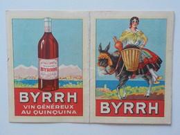 1933 Calendrier Pub Byrrh Vin Au Quiquina Femme Sur âne Portant Panier Osier Avec Raisins - Calendriers