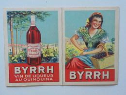 1939 Calendrier Pub Byrrh Vin Au Quiquina Femme  Portant Panier Osier Avec Raisins - Calendriers