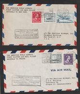 1e Vlucht BRUXELLES-NEW-YORK + BRUXELLES-PRAGUE-VIENNE - 2 Enveloppen - Luchtpost