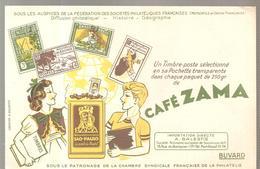 Buvard Café ZAMA Un Timbre Poste Sélectionné En Sa Pochette - Café & Thé