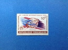 RWANDA REPUBLIQUE RWANDAISE 1965 UIT TELECOMUNICATIONS TELSTAR 10 C FRANCOBOLLO NUOVO STAMP NEW MNH** - 1962-69: Nuovi