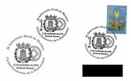 SPAIN. POSTMARK 20th ANNIV. ALCALA DE HENARES CITY HERITAGE OF HUMANITY. 2018 - Marcofilia - EMA ( Maquina De Huellas A Franquear)