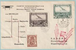 PA 2 + 3 Carte Commémorative De L'inauguration Du Nouveau Réseau SABENA - Oct. 1936 - Luchtpost