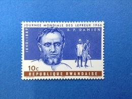 RWANDA REPUBLIQUE RWANDAISE 1966 JOURNEE MONDIALE DES LEPREUX DAMIEN 10 C FRANCOBOLLO NUOVO STAMP NEW MNH** - 1962-69: Nuovi