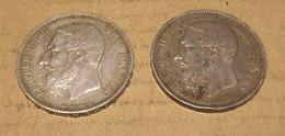 Lot De 2 Pièces De 5 Francs Leopold II - 1865-1909: Leopold II
