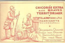 Buvard Chicorée Aux Braves TERRITORIAUX VILLAIN Frères & Fils FABRICANTS à BOURBOUG (Nord) - Café & Thé