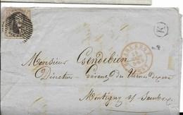 Brief Van 24 Maart 1857 Van Couillet Via Charleroi Naar Montigny Met Busletter K - Poste Rurale