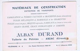 Carte De Visite Commerciale - GIRONDE - ABZAC - Alban DURAND - Tuiles, Chaux, Ciments, Transports, Etc... - Cartes De Visite