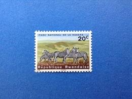 RWANDA REPUBLIQUE RWANDAISE PARCO NAZIONALE KAGERA ANIMALI FAUNA ZEBRE 20 C FRANCOBOLLO NUOVO STAMP NEW MNH** - 1962-69: Nuovi