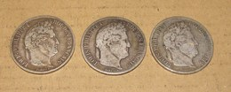 Lot De 3 Pièces De 5 Francs Louis Philippe I - Frankreich